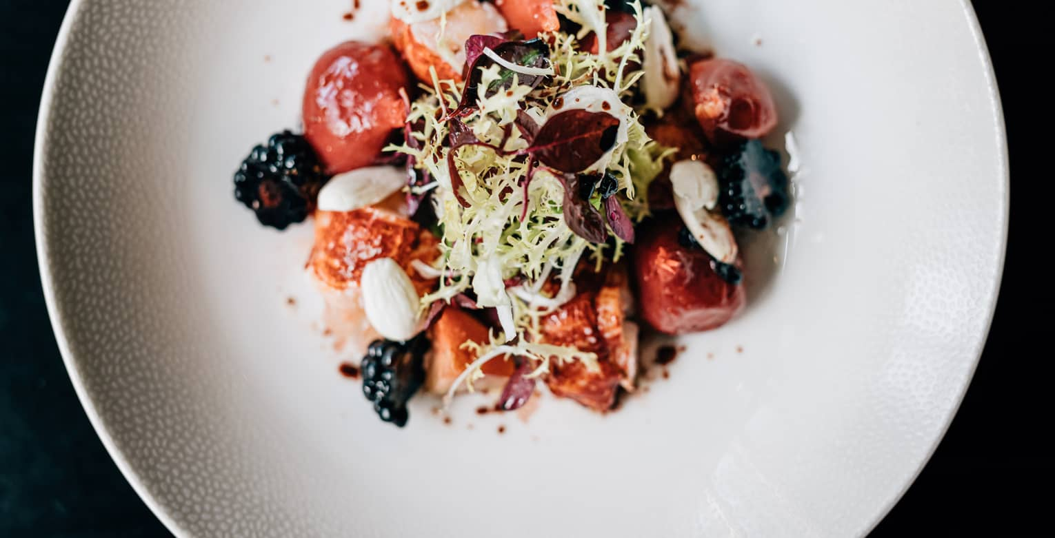 Scottish lobster salad with beetroot and blackberry