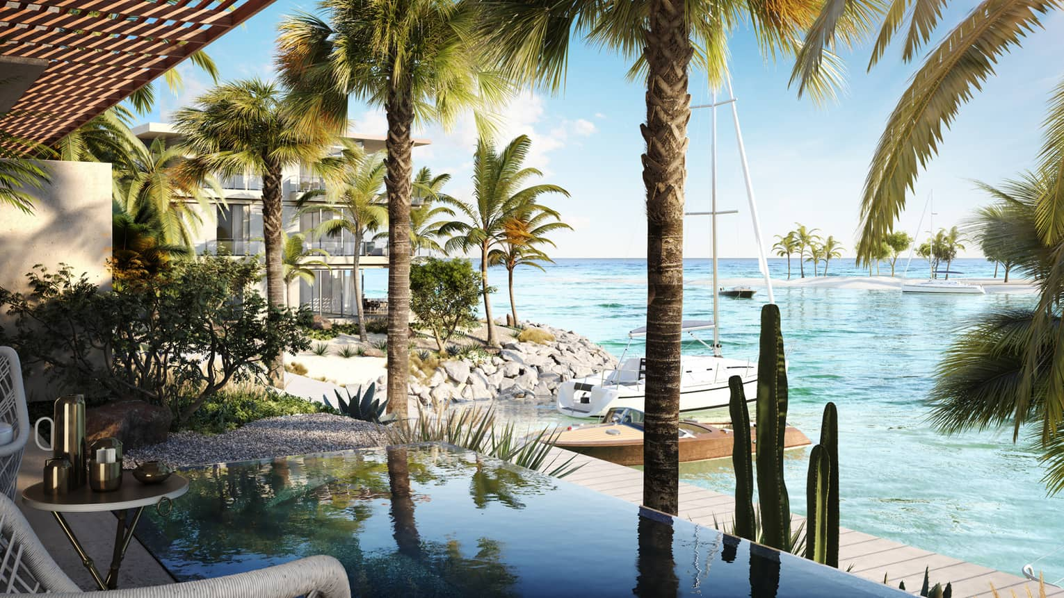 Wicker patio chairs, bistro table and small reflective pool, palms by waterfront