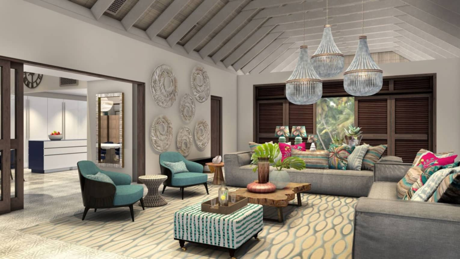Seven-Bedroom Presidential Villa living room with grey sofas, teal armchairs, large chandeliers
