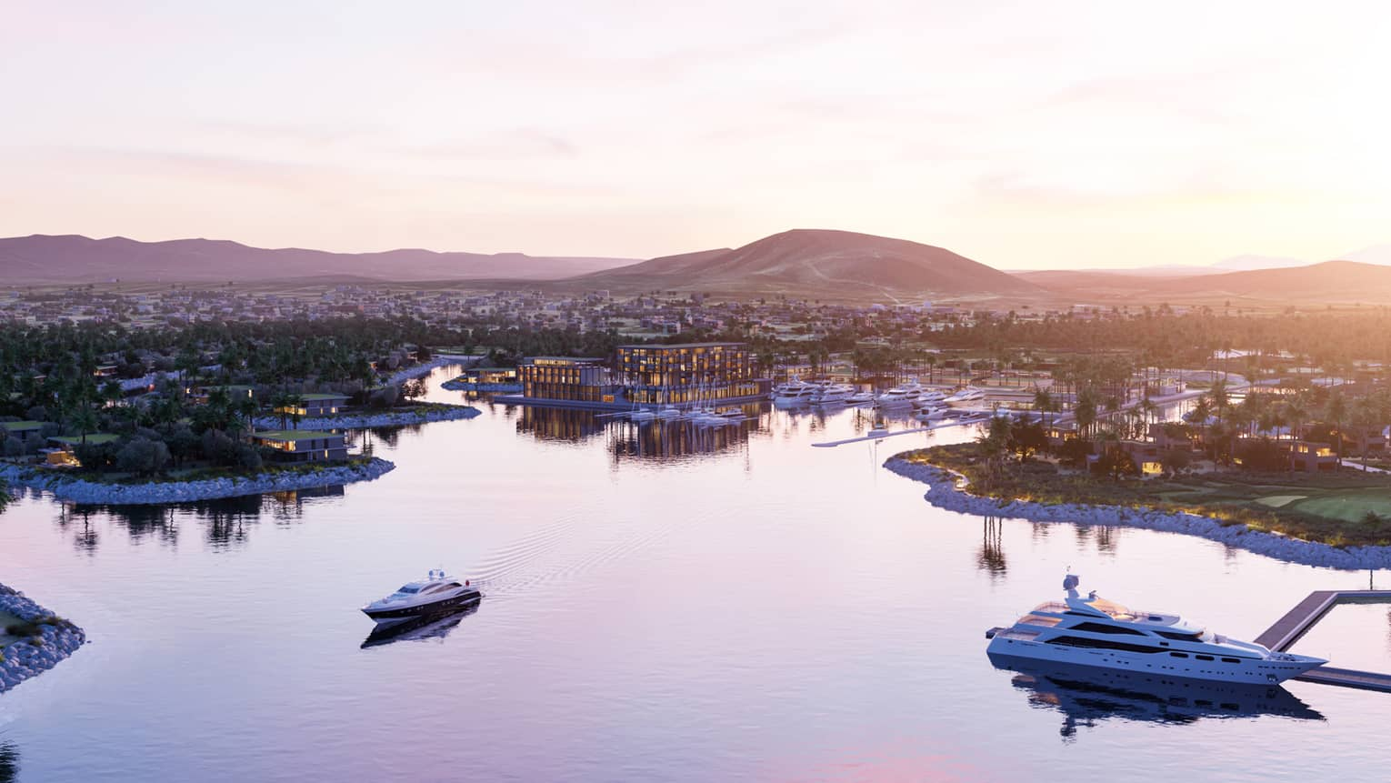 Aerial view of marina, large yachts sailing on water with Los Cabos resort, town, mountains at sunset