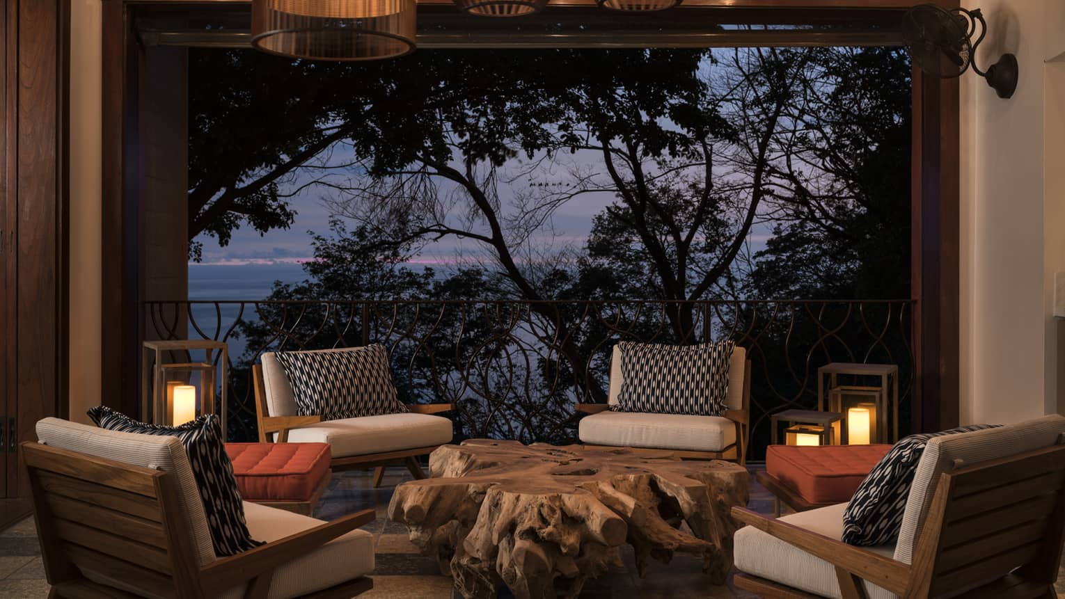 Sitting Area with Night Ocean View