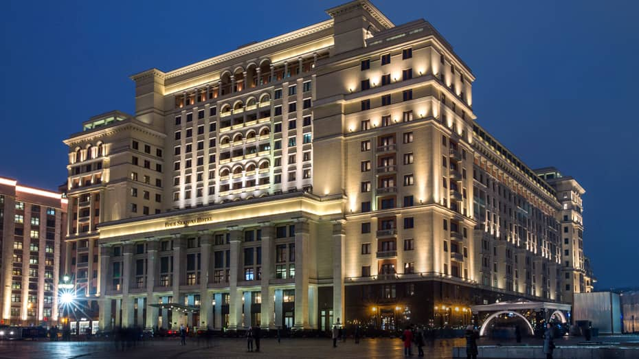 Exterior of Four Seasons Hotel Moscow at night