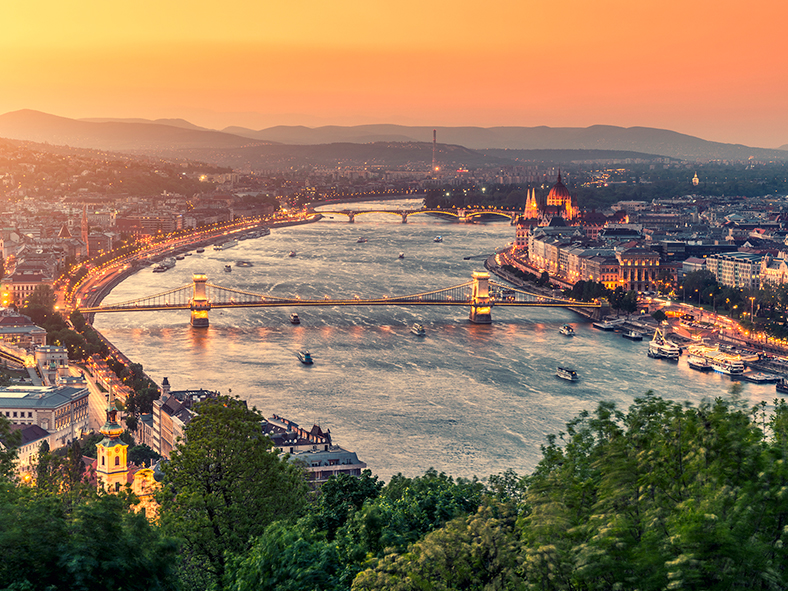 Sail down the Danube River at sunset